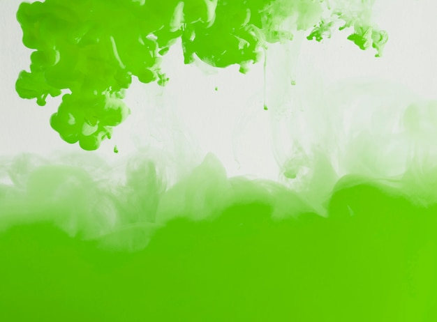 Abstract vibrant green ink cloud