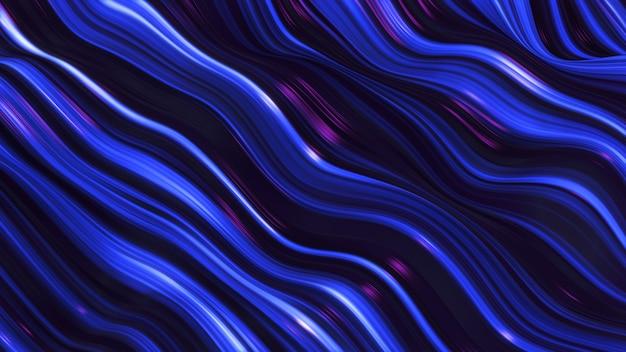 Abstract violet-blue neon wave line filed