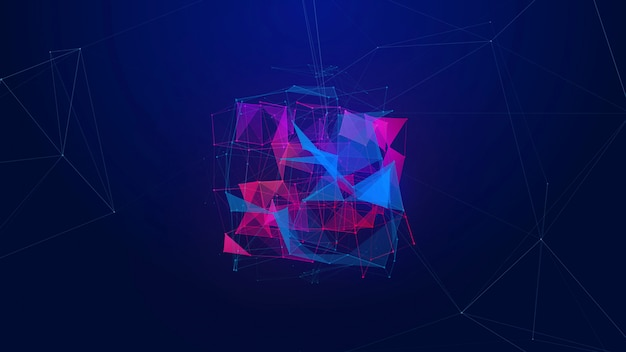 Abstract violet and magenta triangle plexus background