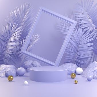 Abstract violet podium with frame and palm leaf background 3d render