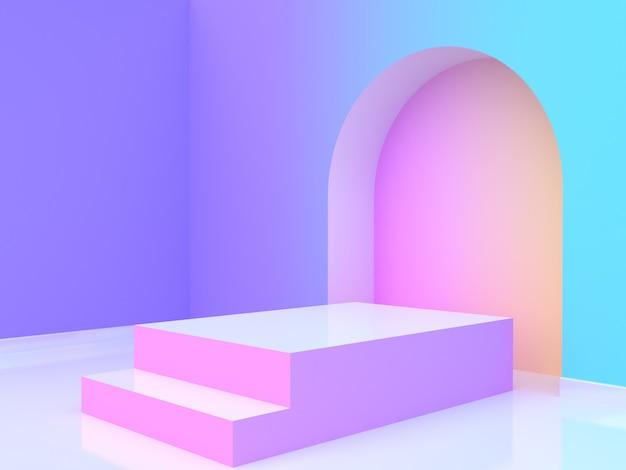 추상 바이올렛 퍼플 블루 옐로우 핑크 그라데이션 벽 방 빈 연단 3d 렌더링