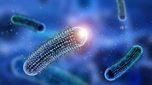 浮遊粒子を持つ抽象的なウイルス細胞