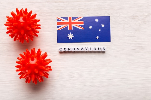 Abstract virus strain model of 2019-ncov middle east respiratory syndrome coronavirus or coronavirus covid-19 with text and flag australia on white