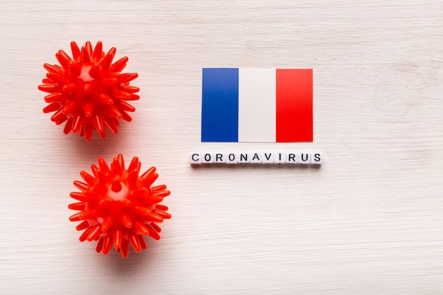 Abstract virus strain model of 2019-ncov middle east respiratory syndrome coronavirus or coronavirus covid-19 with text and flag france on white background.