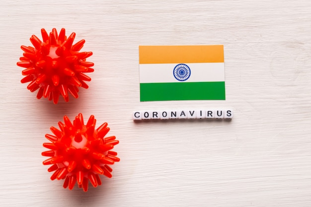 Abstract virus strain model of 2019-ncov middle east respiratory syndrome coronavirus or coronavirus covid-19 with text and flag india on white background. virus pandemic protection concept.