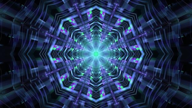 8각형 기하학적 디자인과 빛나는 네온 불빛이 있는 공상 과학 우주선 통로 관점의 추상 시각적 배경 4k uhd 3d 그림
