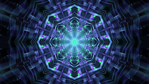 Abstract visual background 4k uhd 3d illustration of sci fi spaceship passage perspective with octagonal geometric design and gleaming neon lights