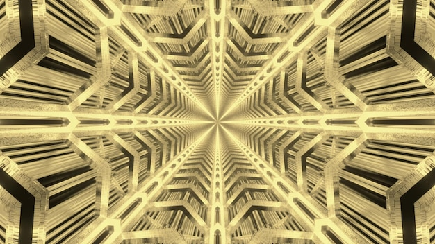 Abstract visual background of endless futuristic tunnel with symmetric geometric star shaped in golden neon colors