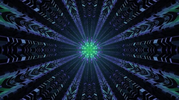 밝은 화려한 네온 불빛을 반사하는 금속 세포가 있는 어두운 터널의 추상적인 시각적 배경 미래 건축 4k uhd 3d 그림