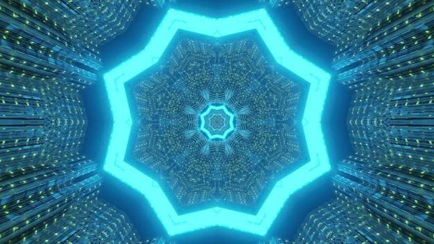 青いネオンライトで光る幾何学的な星型の穴と抽象的な視覚的背景sfトンネル