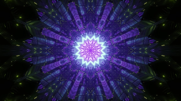 Abstract visual background with glowing neon purple geometric flower with symmetrical blinking rays and light particles in darkness
