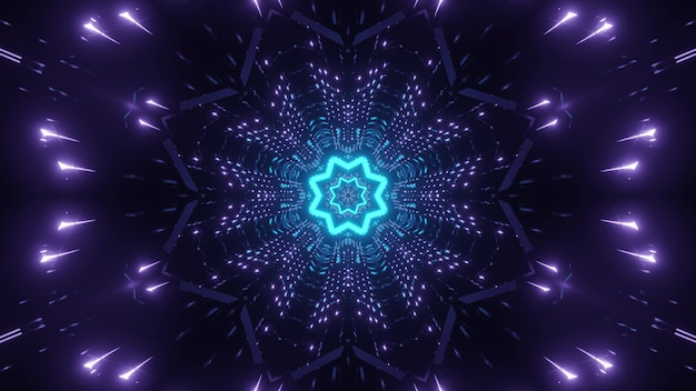 Abstract visual background with shiny blue neon star in center and symmetrical purple lights blinking in darkness