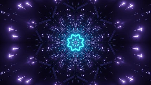 중앙에 반짝이는 파란색 네온 별과 어둠 속에서 깜박이는 대칭 보라색 조명이있는 추상 시각적 배경