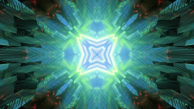 빛의 반사와 환상적인 터널의 기하학적 빛나는 파란색과 녹색 네온 기하학적 추상 시각적 미래 공상 과학 배경