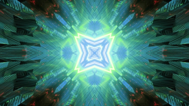 Abstract visual futuristic sci fi background with glowing blue and green neon geometric of fantastic tunnel with light reflections