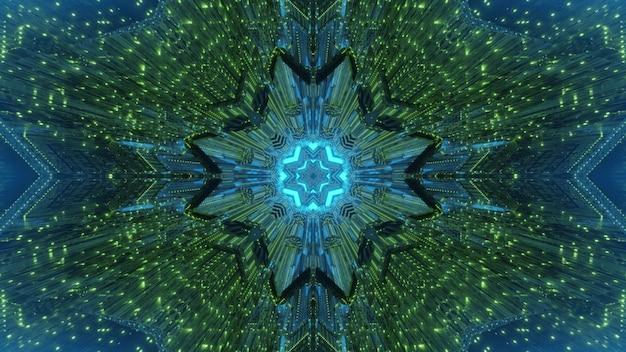 녹색과 파란색 네온 조명과 특이한 모양이있는 추상 시각적 기하학적 배경 초현실적 인 터널
