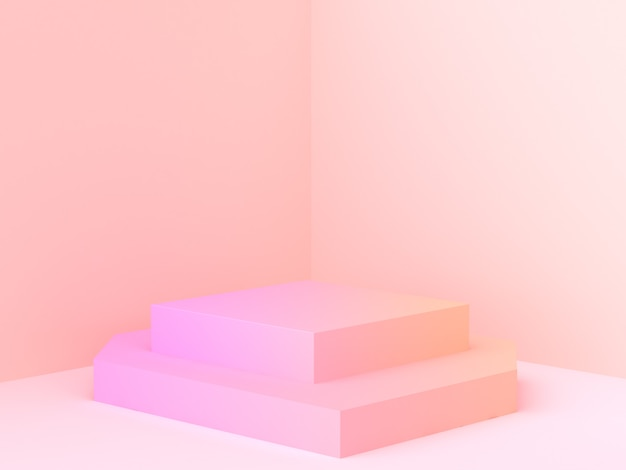 Abstract wall corner scene 3d rendering minimal gradient podium