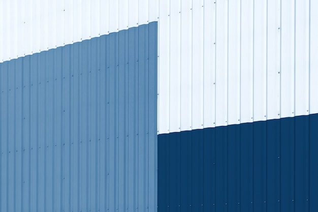 Abstract warehouse wall exterior blue toned