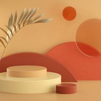 Abstract warm pastel 3d rendering scene, matte glass circles and cylinder podiums background. square banner template with space for text. golden palm leaf. showcase, shopfront, display case.