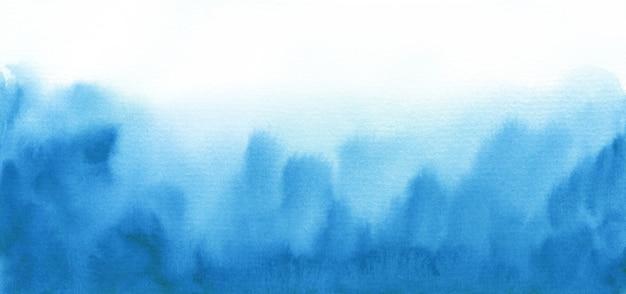 抽象的な水彩画の背景、手描きのテクスチャ、青いペンキの染み。
