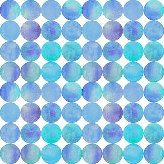 白のカラフルな円と抽象的な水彩画の背景。水彩手描きティールパープルブルーシームレスパターン。水彩の丸い形のテクスチャ。テキスタイル、壁紙、ラッピング用に印刷します。