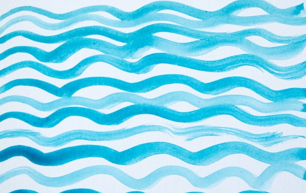 波線、シンプルなかわいい描画と抽象的な水彩画の背景。
