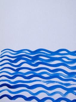 波線とテキストのスペースと抽象的な水彩青い垂直背景