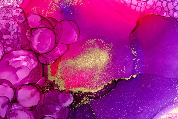 Абстрактная акварель бордового цвета художественного фона с фиолетовыми пузырями