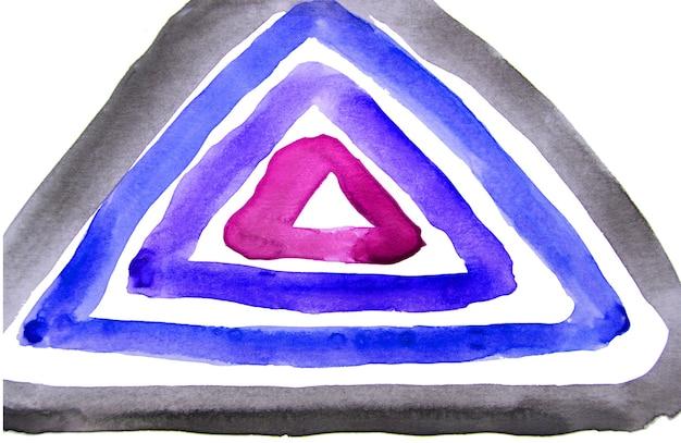いくつかの三角形で構成される幾何学的形状の抽象的な水彩画