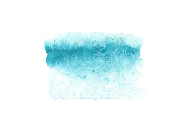 白い表面に分離された抽象的な水彩手描きの青いテクスチャ。水彩画の背景