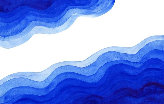 추상 수채화 빛과 진한 파란색 물결 모양의 종이 잘라 배경