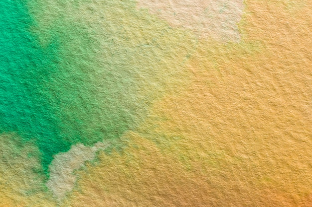 Абстрактная акварель оранжевый и зеленый фон