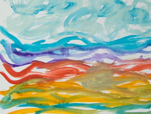 ストロークと線の抽象的な水彩パターン、手で描かれた太いブラシストロークと細いストライプ