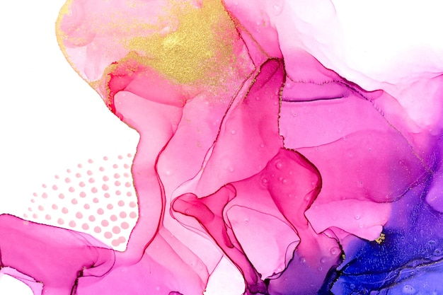 Abstract watercolor pink and violet gradient background with dots and glitter