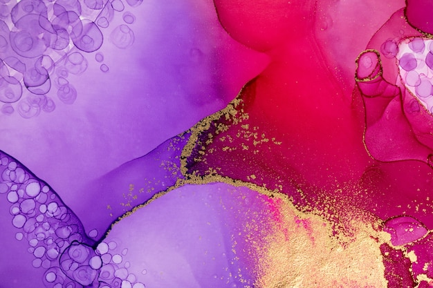 Abstract watercolor pink and violet gradient pattern with gold glitter and drops texture