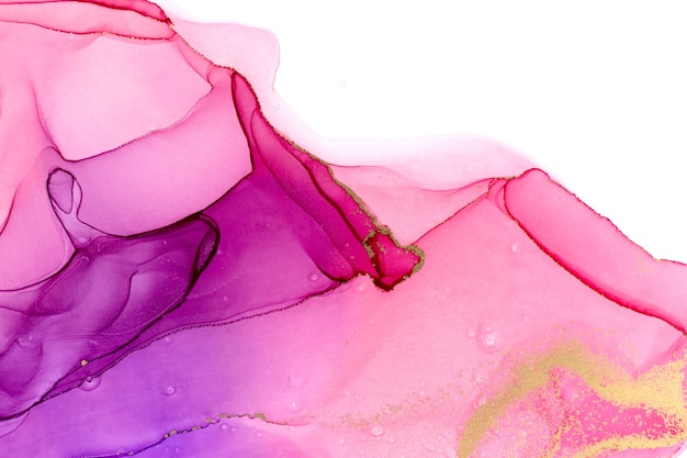 Abstract watercolor pink and violet gradient with gold ink isolated on white background