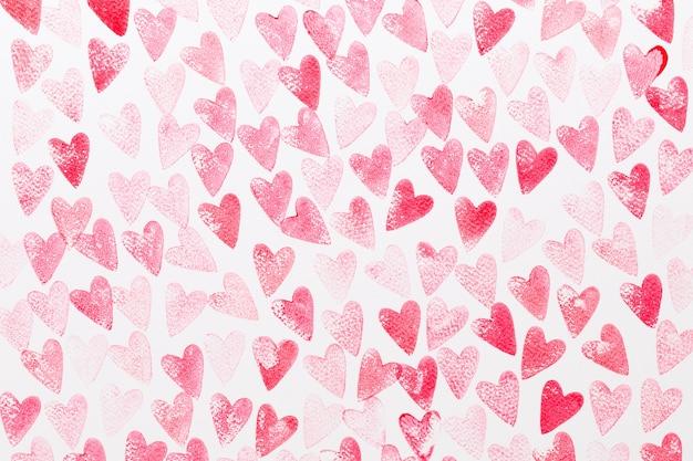 Абстрактная акварель красные и розовые сердца шаблон