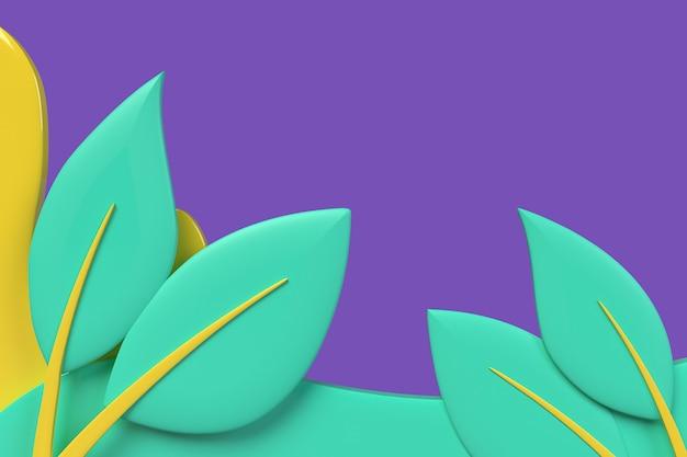 잎 디자인으로 추상 파 배경입니다. 3d 렌더링 개체