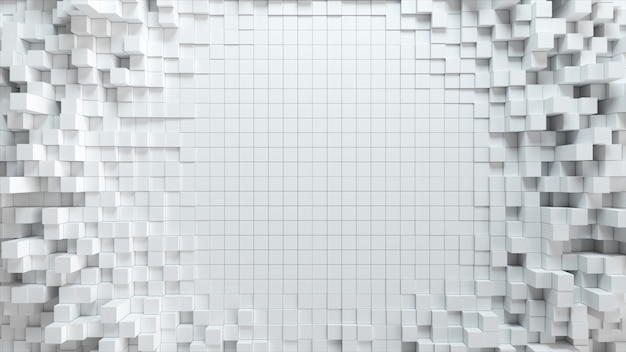Abstract wave background with moving white cubes