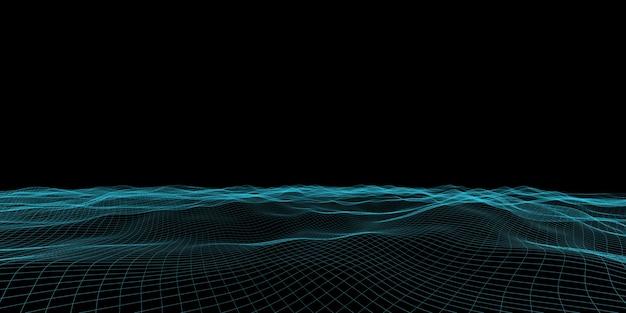 抽象的な波グリッドネオンカラーメッシュ光効果3dイラスト