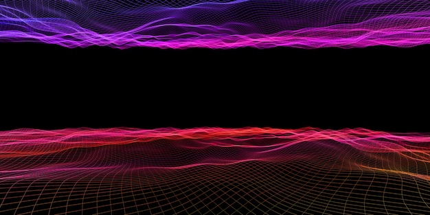 Abstract wave grid neon color mesh light effect 3d illustration