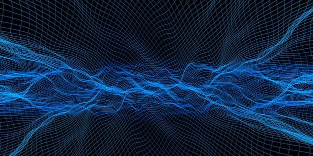 抽象的な波グリッドネオンカラーメッシュ光効果dイラスト