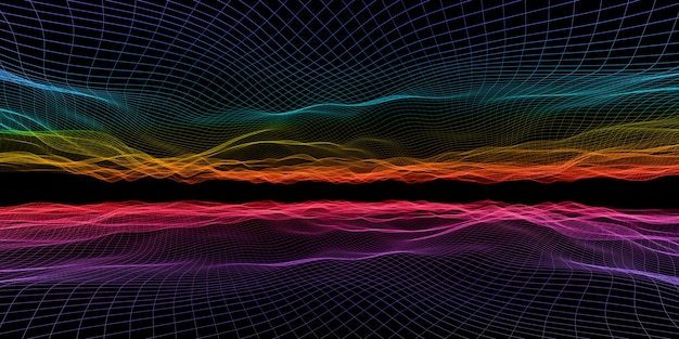 Abstract wave grid neon color mesh light effect