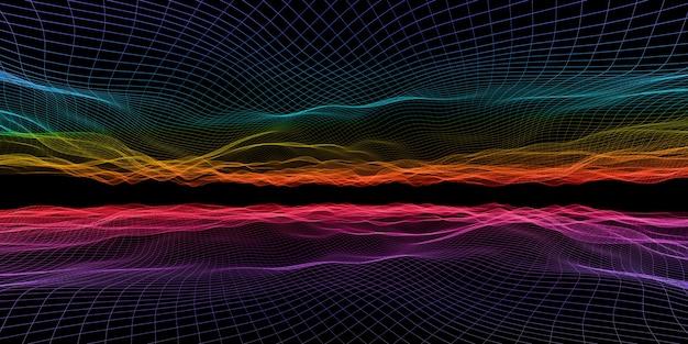 抽象的な波グリッドネオンカラーメッシュライト効果