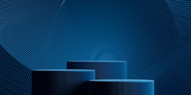 Abstract wave technology background with podium concept for product presentation branding. 3d rendering illustration