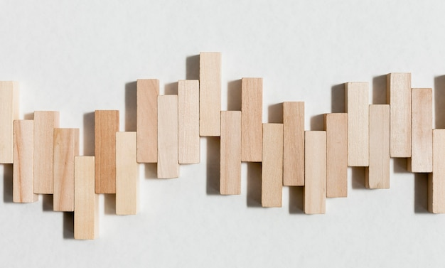 Abstract waves graph from wooden pieces