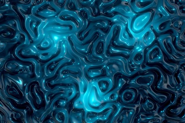 Abstract wavy liquid texture patterns 3d rendering