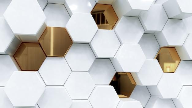 抽象的な白と金色の六角形