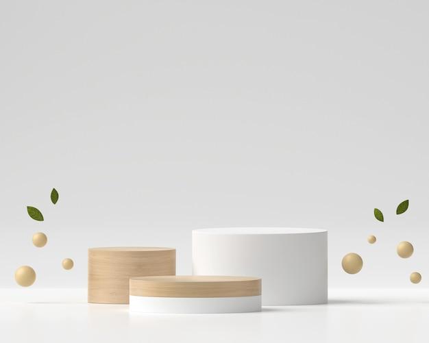 抽象的な白と木製の表彰台プラットフォーム製品ディスプレイ3dレンダリング