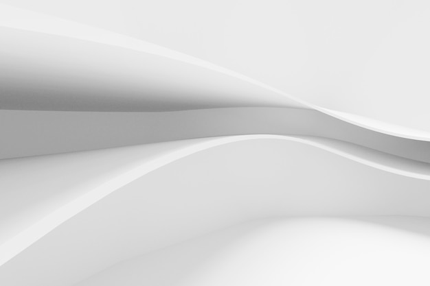 Abstract white architecture background. 3d render. modern geometric wallpaper. futuristic technology design